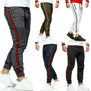 Uomo-Jogger-Jeans-Track-Biker-Chino-Pants-Jogging-Pantaloni-Strisce-Slim-Fit-Nuovo