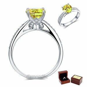 925 Sterling Silver Engagement Ring Vintage 1.25 Ct Yellow Canary Lab Diamond