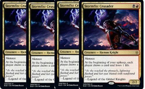 4x Stormfist Crusader Throne of Eldraine MTG Gold Rare NM