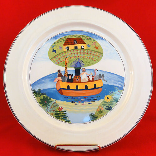 "NOAH'S ARK Platter 12"" Villeroy & Boch NEW NEVER USED Luxembourg NAIF DESIGN"
