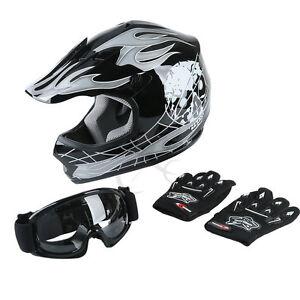 Hot-Youth-Black-Skull-Dirt-Bike-ATV-Helmet-Motocross-w-Goggles-Gloves-S-M-L-XL