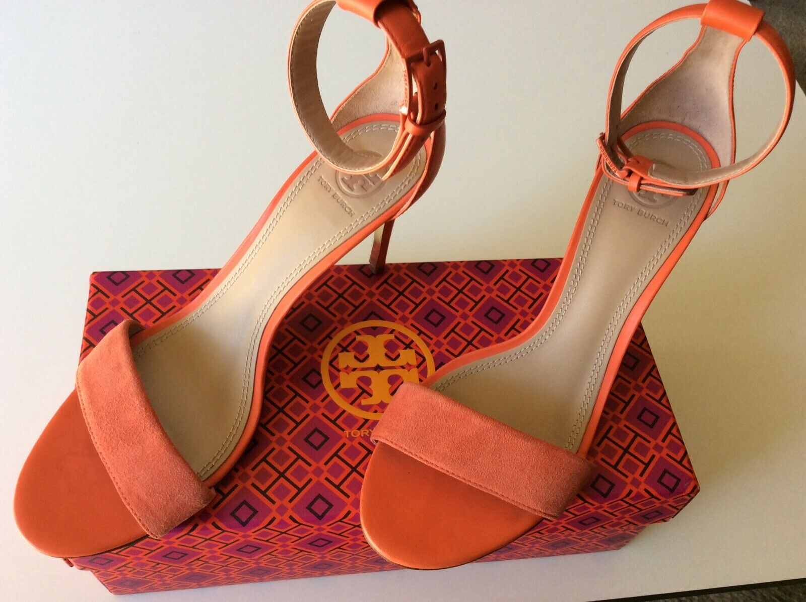 TORY BURCH pink leather & suede ankle ankle ankle strap stilletto heels sz 9.5 165c75