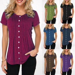 Womens-Short-Sleeve-Button-Down-Shirts-Tunic-Tops-Oversized-Solid-T-Shirt-Blouse