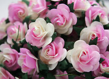 """100! Large Mulberry Paper Roses - 20MM/0.75"""" - Pale Pink & White Swirl Rose!"""