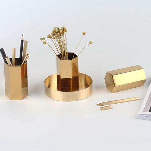 Moderne Gold Sechskant Edelstahl Stifthalter Stift Pot Desk Organizer