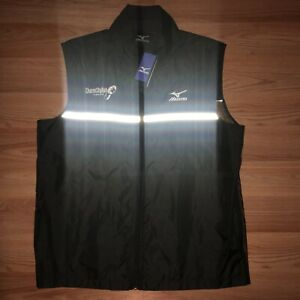 Mizuno Mens Running Gilet Black Breathable Lightweight Reflective Windproof Vest