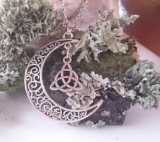 PAGAN WICCA GODDESS CHAIN PENDANT NECKLACE SILVER AMULET MOON TRIQUETRA + POUCH