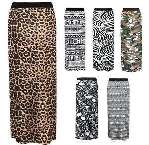 WOMENS LADIES LONG JERSEY GYPSY MAXI SKIRT FULL LENGTH STRETCH SUMMER DRESS 8-14
