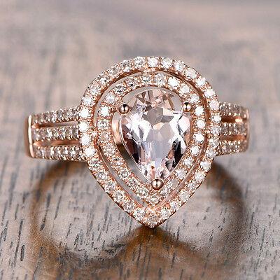 6x8mm Pear Cut 1.15ctw Pink Morganite Diamonds Engagement Ring 14K Rose Gold