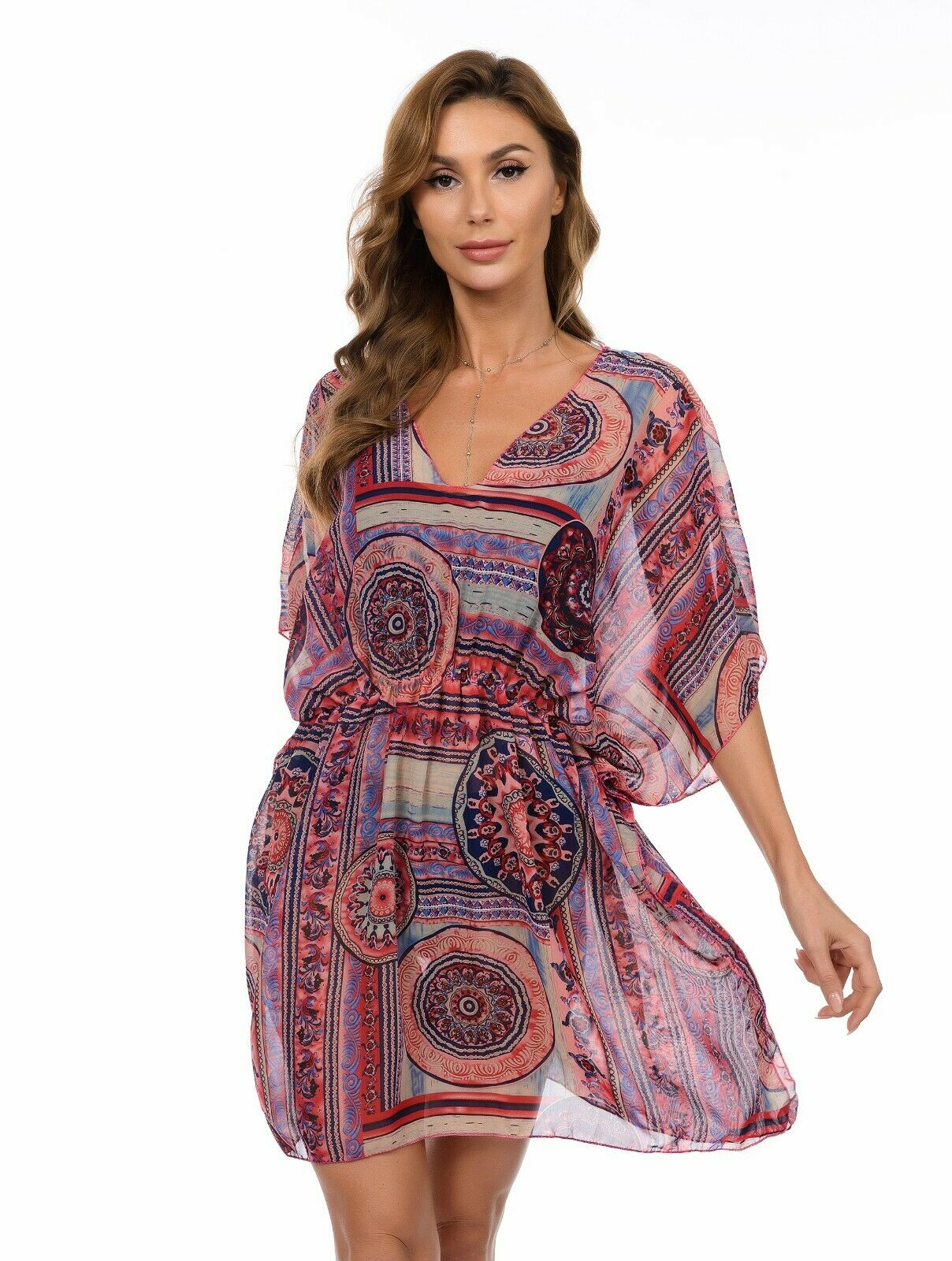 Zentral Chic Chiffon Kaftan Summer Kleid Strandbedeckung Kleider Power UK Seller