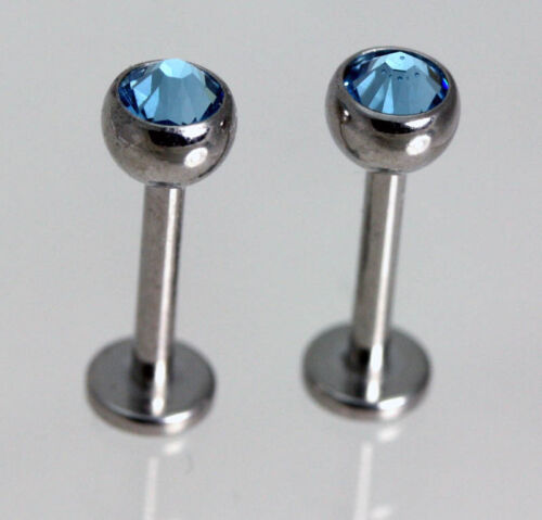 FREE pouch Lobe Tragus Crystal Stud Earrings PAIR Comfortable Flat Back Post