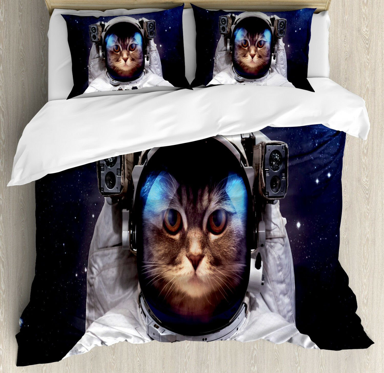 Space Cat Duvet Cover Set with Pillow Shams Kitty Suit in Cosmos Print