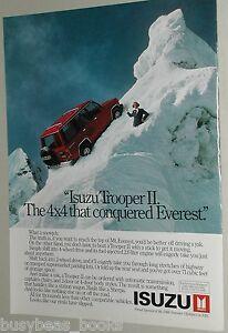 Classic Vintage Advertisement Ad A91-B 1988 Isuzu Trooper II vs Ford Bronco II