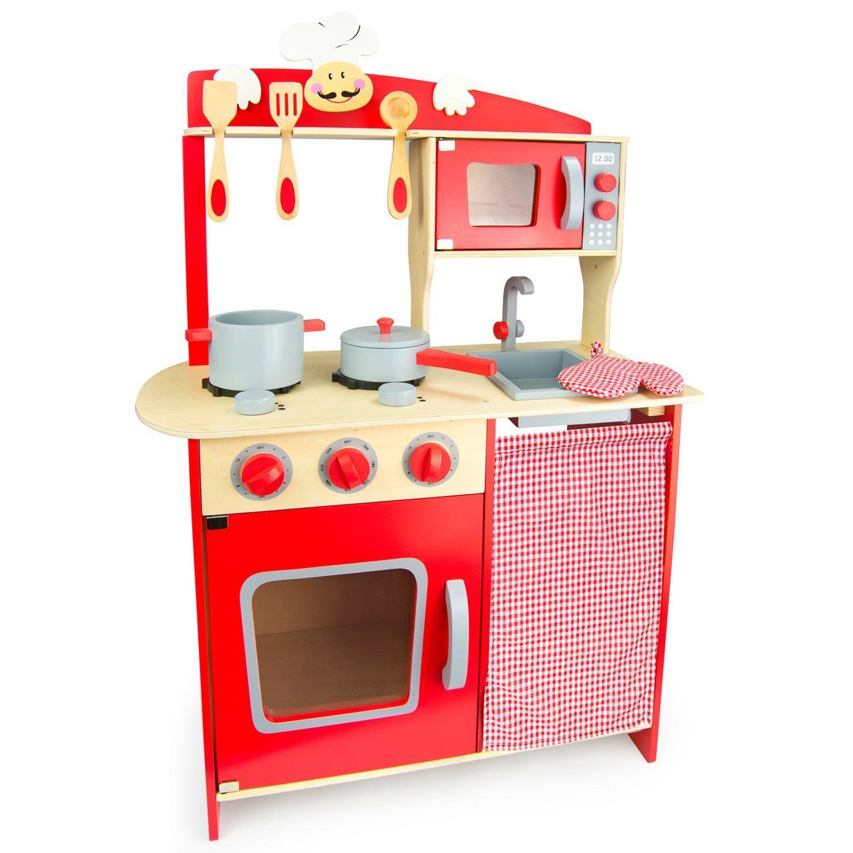 Kinder Holz 'Koch' Küche Rot von Leomark Brandneu Brandneu Brandneu Rollenspiel Spielzeug 21d67b