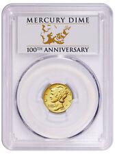2016-W 1/10 Oz Gold Mercury Dime Centennial PCGS SP70 FS Anniv. label SKU40777