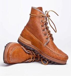 $1014 Visvim Platte Hi Folk Leather Boots size 7.5 Light Brown Vibram Sole New