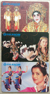 Malaysia-Used-Phone-Card-3-pcs-Dancer-039-s-Costumes