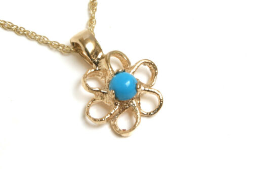 """9ct Gold Turquoise Daisy Pendant and 18/"""" Chain Made in UK Gift Boxed Necklace"""