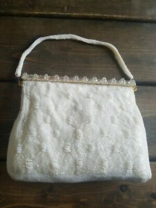 Vintage-1950s-Imported-Hand-Beaded-Purse-Pearly-White-with-Gold-Beaded-Strap