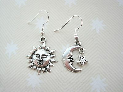Moon Star High Polish .925 Sterling Silver Crescent Mismatch Simple Earrings