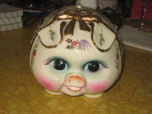 Vintage Xian Large Porcelain Pig Piggy Bank NICE