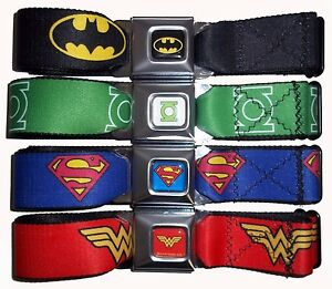 "Seat Belt Buckle 1.5"" x 24-38"" DC Comics Batman Superman Wonder Woman"