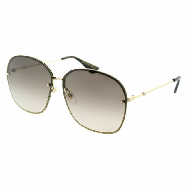 49c0ae18f1 Gucci Women Sunglasses Gg0228s 001 Gold Brown Gradient Lens 63mm Authentic