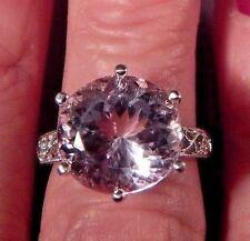Huge 11.21ct. Round Pink Kunzite Filigree Sterling Silver Ring Free Sizing