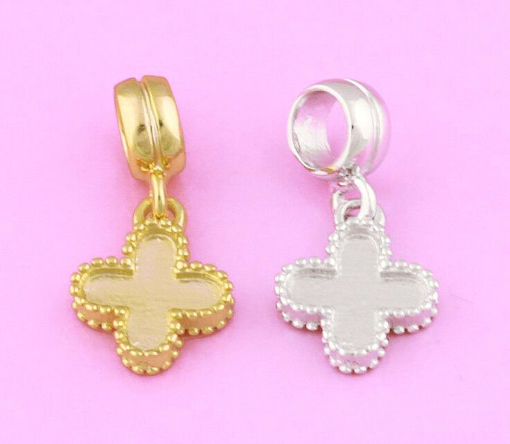 Solid 925 Sterling Silver / Gold Flower Cross Letter X Dangle Charm Bead Pendant