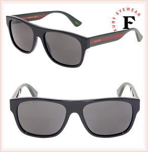 e505da0ff GUCCI 0341 Black Green Web Stripe Square POLARIZED Unisex Sunglasses ...