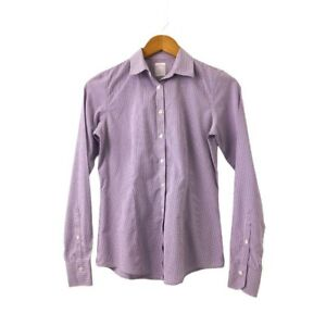 Brooks-Brothers-Womens-Button-Up-Collared-Checked-Shirt-Long-Sleeve-Size-0-4-6