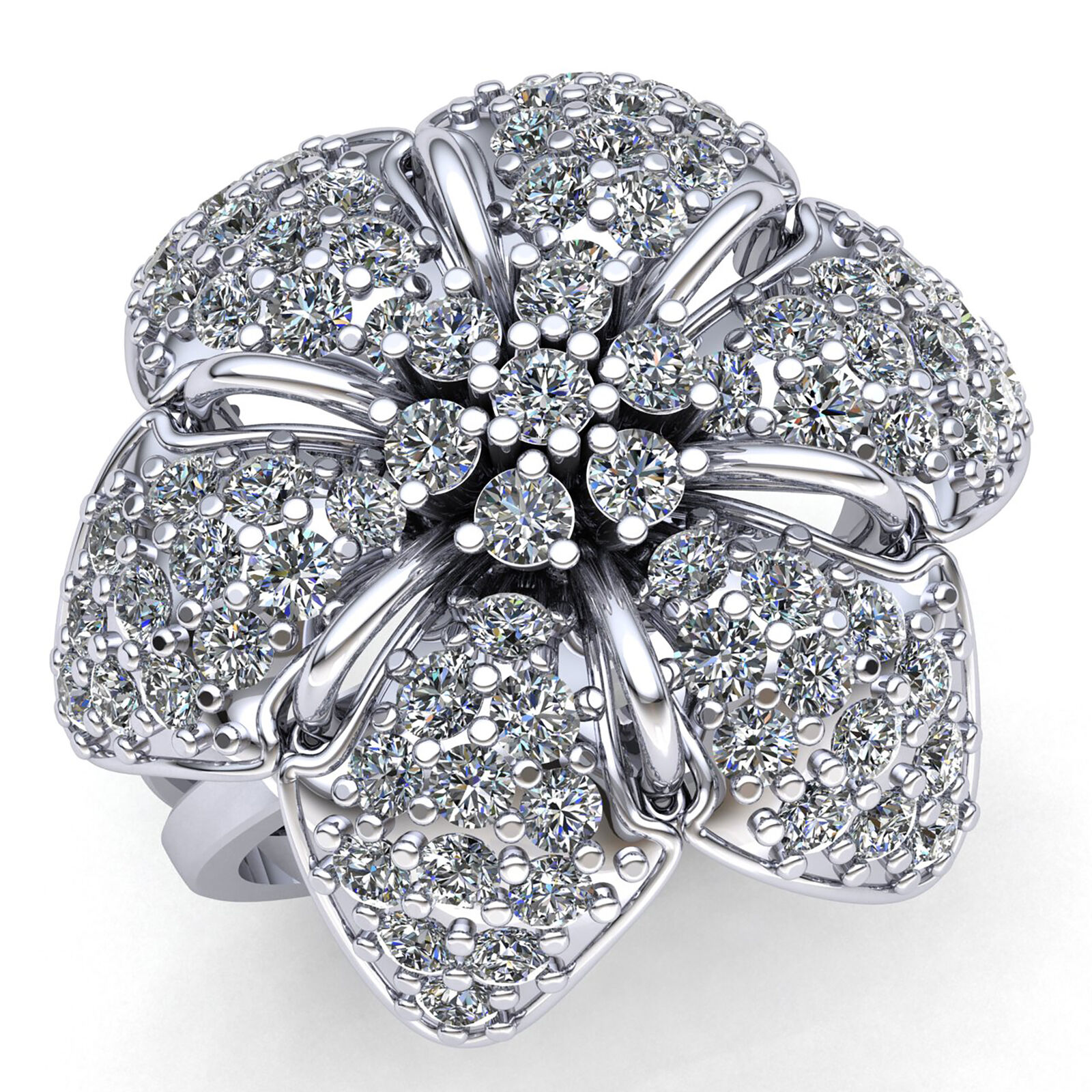 Natural 2ct Round Diamond Ladies Bridal Flower Fancy Engagement Ring 10K gold