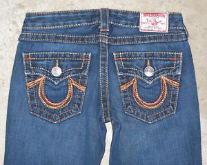 e3899cb81 True Religion Joey Big T Jeans Womens Sz 27 Rainbow Bootcut 100 ...