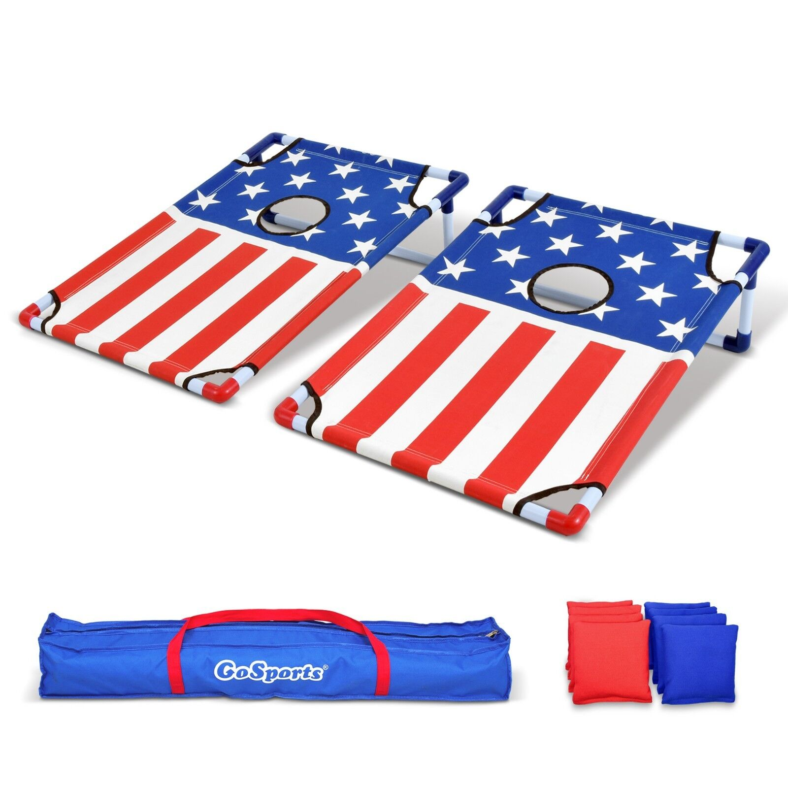 GoSports American Flag 3x2 PVC Cornhole Set Game Boards with 8 Bean Bags & Case