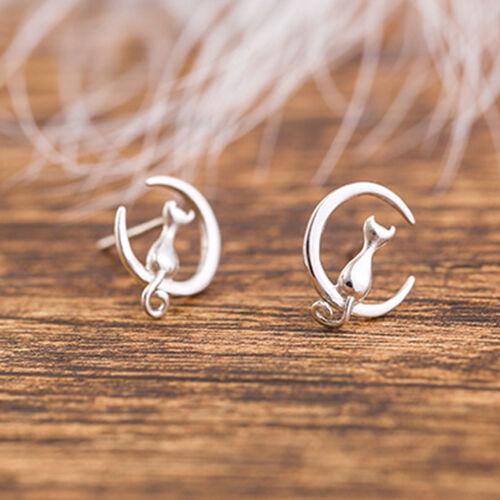 2 *Silver Cat Kitty Golden Moon Post Stud Earrings For Women Girls Hot
