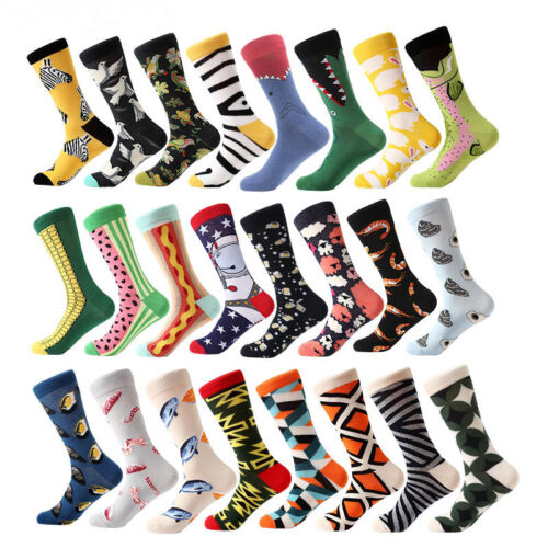 Men/'s Cotton Design Printed Colorful Stretch Classic Breathable Crew Dress Socks
