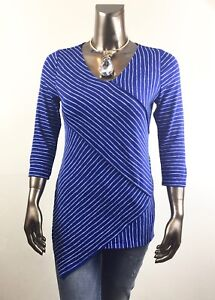 CHICO-039-S-NEW-SIZE-2-L-BLUE-WHITE-CROSS-STRIPE-3-4-SLV-TUNIC-85