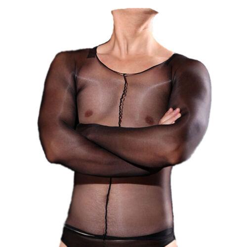 Zf Unisex Nylon Shiny Glossy Tights Shirt Vest