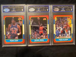 1986 Fleer Michael Jordan, Patrick Ewing, Hakeem Olajuwon ROOKIE Basketball Card