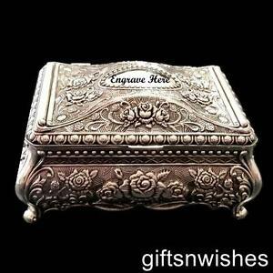 Embossed-Antique-Vintage-Style-Silver-Plated-Jewellery-or-Trinket-Box-12x8x6cm