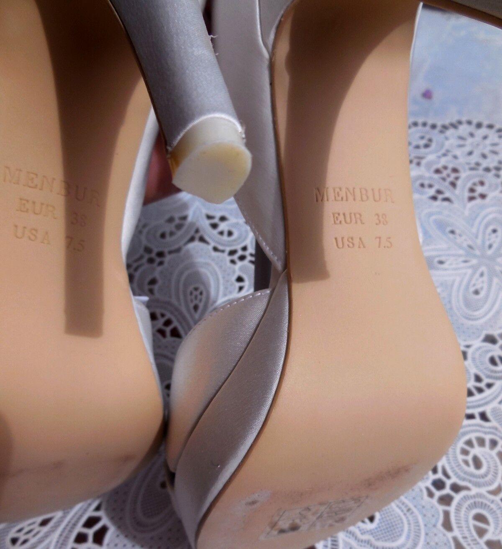 Designer Hochzeits Pumps Strass Sandalette MENBUR USA mit Strass Pumps Gr. 38 weiß f0c4d5