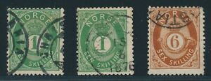 NORWAY-1872-three-stamps-034-posthorn-034-Skilling-Fine-Mi-135-A17687