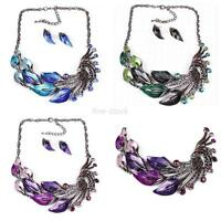 Women Ladies Peacock Enamel Choker Necklace + Stud Earrings Set Jewelry Fashion