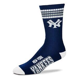 New-York-Yankees-For-Bare-Feet-MLB-4-Stripe-Deuce-Crew-Socks-SZ-Large