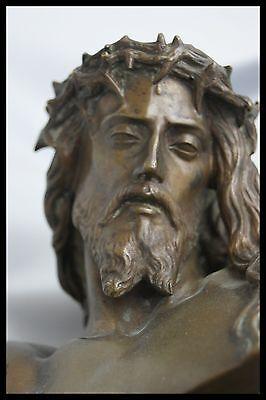 † c.1858 CLESINGER & BARBEDIENNE BRONZE JESUS CHRIST STATUE HOLY FACE ECCE HOMO†