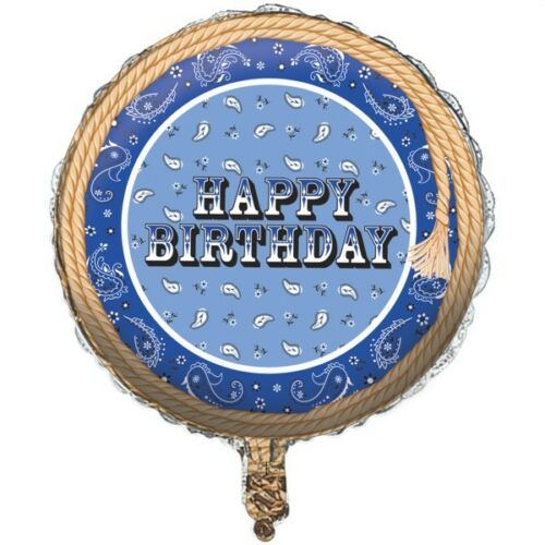 "HAPPY BIRTHDAY BLUE BANDANA WESTERN COWBOY PARTIES 17/"" FOIL BALLOON!"