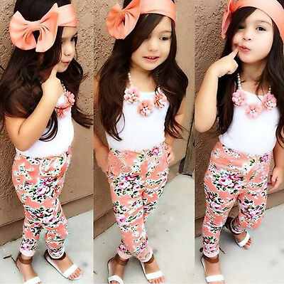 Kids Baby Girls Sun Tops T-shirt Floral Pants Trousers Hairband Outfits Set 2-7Y