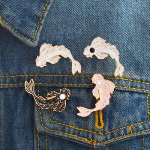 Pink White Koi Brooch Cute Goldfish Carp Enamel Pin Denim Lapel Fish Badge BIN