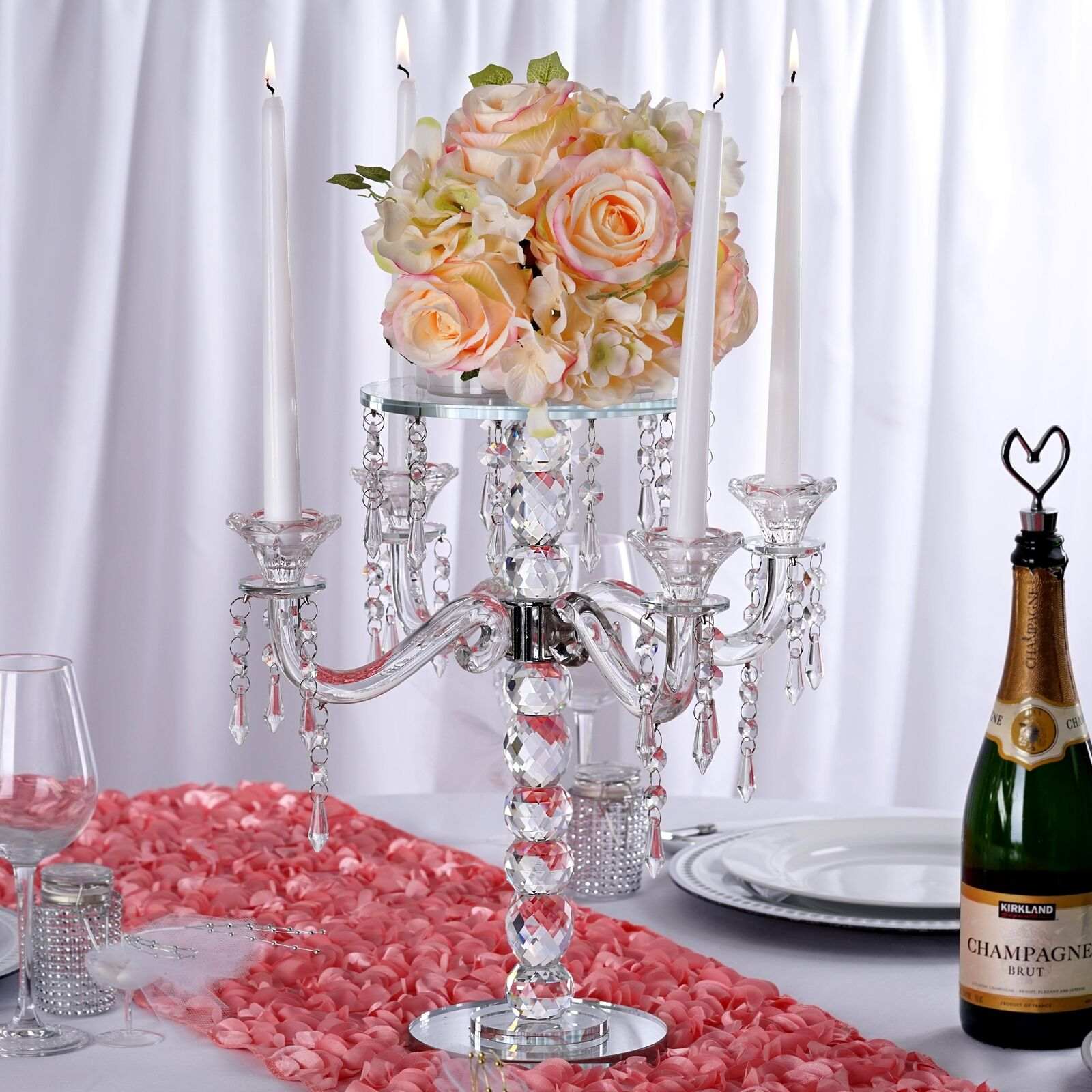 15  Gemcut Glass Candelabra Votive Candle Holder With Crystal Chains - 1 PCS