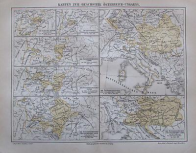 1888 Karte zur Geschichte Österreich-Ungarns Landkarte map Litho Osztrák-Magyar